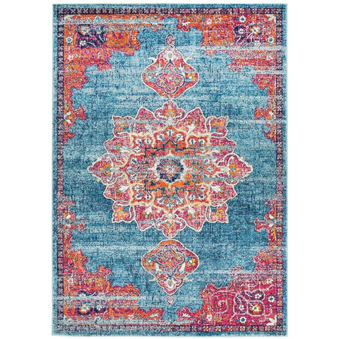 Kahn 883 Blue Multi Colour Transitional Medallion Patterned Rug - Rugs Of Beauty - 1
