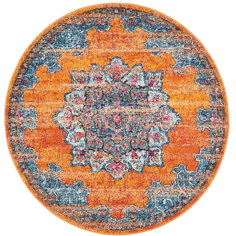 Kahn 884 Rust Blue Multi Colour Transitional Medallion Patterned Round Rug - Rugs Of Beauty - 1