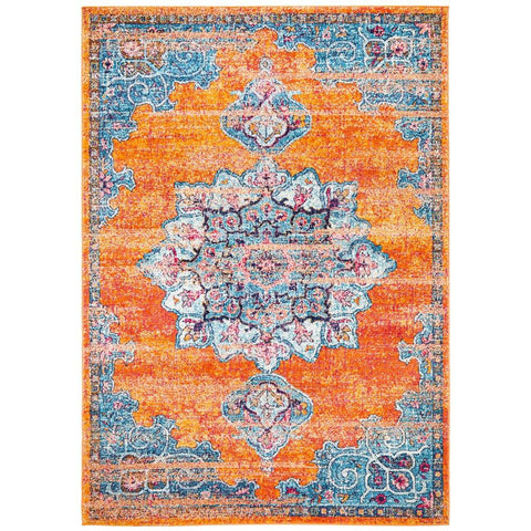 Kahn 884 Rust Blue Multi Colour Transitional Medallion Patterned Rug - Rugs Of Beauty - 1