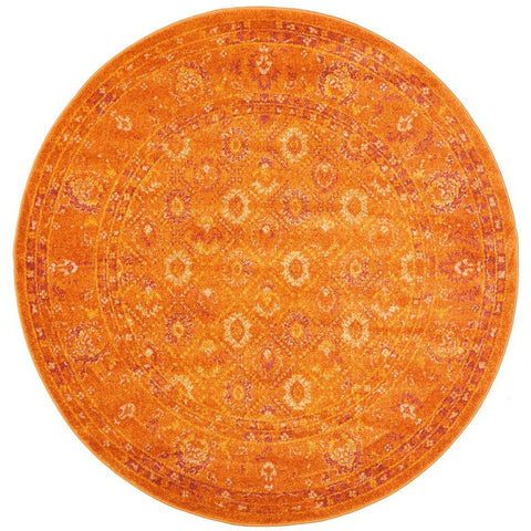 Kahn 885 Orange Rust Multi Colour Transitional Medallion Patterned Round Rug - Rugs Of Beauty - 1