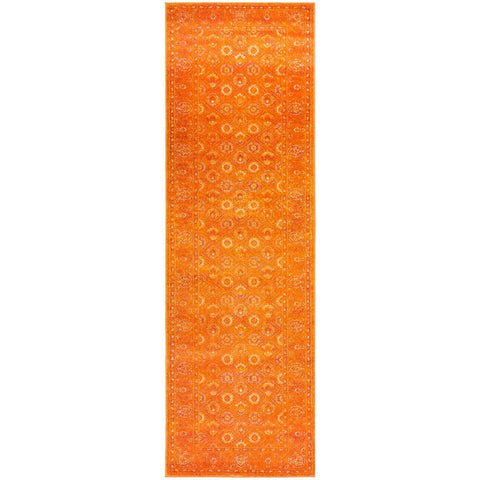 Kahn 885 Orange Rust Multi Colour Transitional Medallion Patterned Runner Rug - Rugs Of Beauty - 1