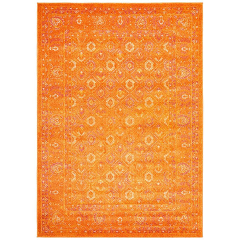 Kahn 885 Orange Rust Multi Colour Transitional Medallion Patterned Rug - Rugs Of Beauty - 1