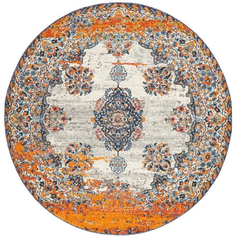 Kahn 886 White Grey Orange Multi Colour Transitional Medallion Patterned Round Rug - Rugs Of Beauty - 1
