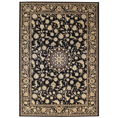 Qetesh Black Traditional Persian Floral Patterned Rug - Rugs Of Beauty