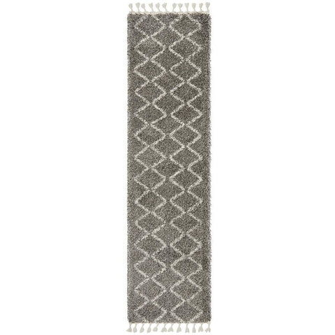 Zaria 151 Grey Moroccan Inspired Modern Shaggy Runner Rug - Rugs Of Beauty - 1