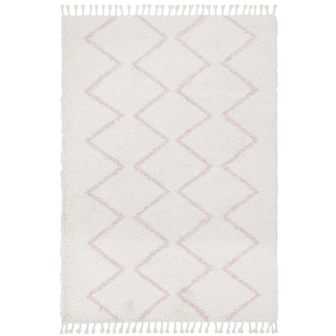 Zaria 151 Pink Moroccan Inspired Modern Shaggy Rug - Rugs Of Beauty - 1