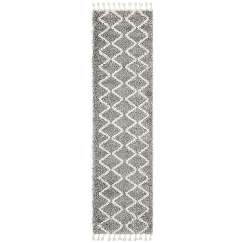 Zaria 151 Silver Grey Moroccan Inspired Modern Shaggy Runner Rug - Rugs Of Beauty - 1