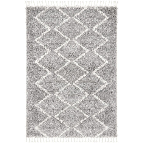Zaria 151 Silver Grey Moroccan Inspired Modern Shaggy Rug - Rugs Of Beauty - 1
