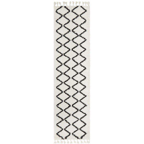 Zaria 151 White Black Moroccan Inspired Modern Shaggy Runner Rug - Rugs Of Beauty - 2