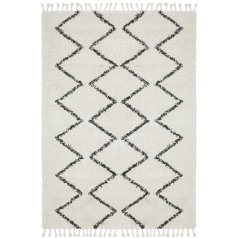 Zaria 151 White Black Moroccan Inspired Modern Shaggy Rug - Rugs Of Beauty - 1