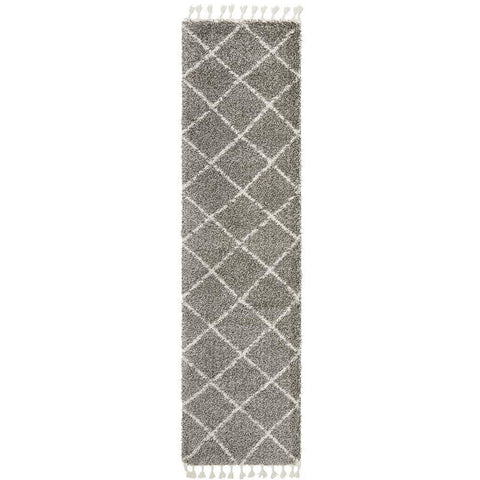 Zaria 152 Grey Moroccan Inspired Modern Shaggy Runner Rug - Rugs of Beauty - 1