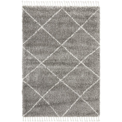 Zaria 152 Grey Moroccan Inspired Modern Shaggy Rug - Rugs Of Beauty - 1