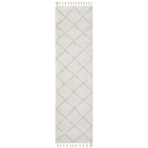 Zaria 152 Pink Moroccan Inspired Modern Shaggy Runner Rug - Rugs Of Beauty - 1