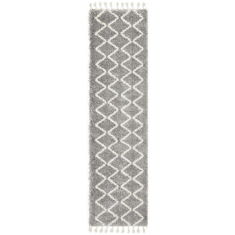 Zaria 152 Silver Grey Moroccan Inspired Modern Shaggy Runner Rug - Rugs Of Beauty - 1