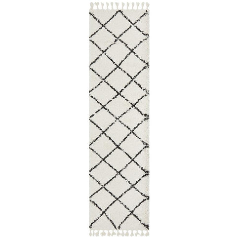 Zaria 152 White Black Moroccan Inspired Modern Shaggy Runner Rug - Rugs Of Beauty - 1