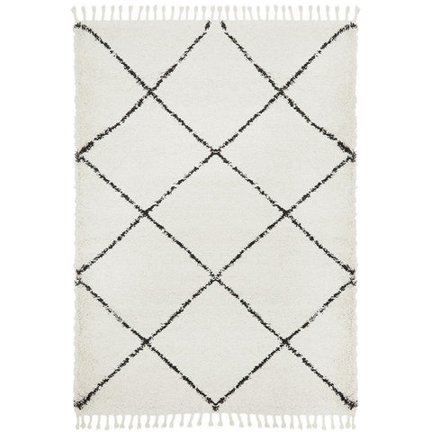 Zaria 152 White Black Moroccan Inspired Modern Shaggy Rug - Rugs Of Beauty - 1
