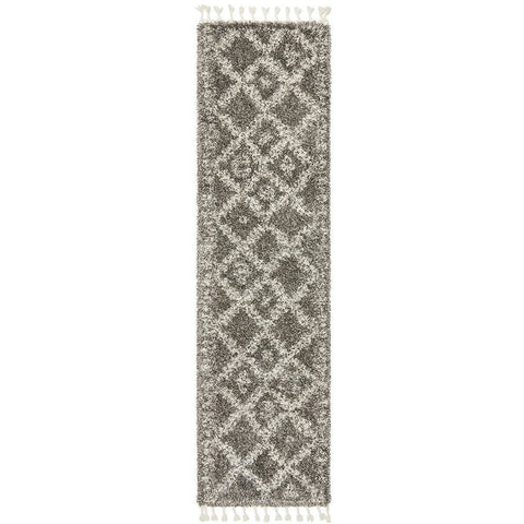 Zaria 153 Grey Moroccan Inspired Modern Shaggy Runner Rug - Rugs Of Beauty - 1