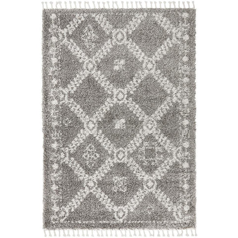 Zaria 153 Grey Moroccan Inspired Modern Shaggy Rug - Rugs Of Beauty - 1