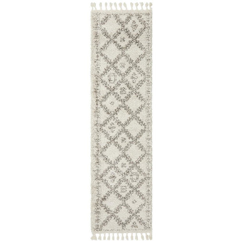 Zaria 153 Natural Moroccan Inspired Modern Shaggy Runner Rug - Rugs Of Beauty - 1