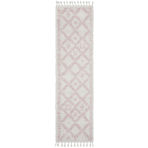 Zaria 153 Pink Moroccan Inspired Modern Shaggy Runner Rug - Rugs Of Beauty - 1