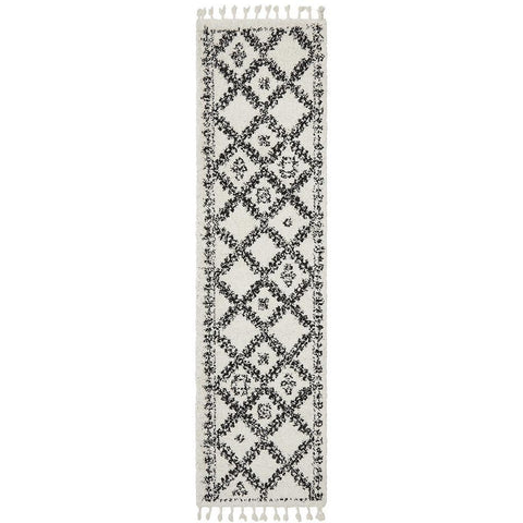 Zaria 153 White Black Moroccan Inspired Modern Shaggy Runner Rug - Rugs Of Beauty - 1