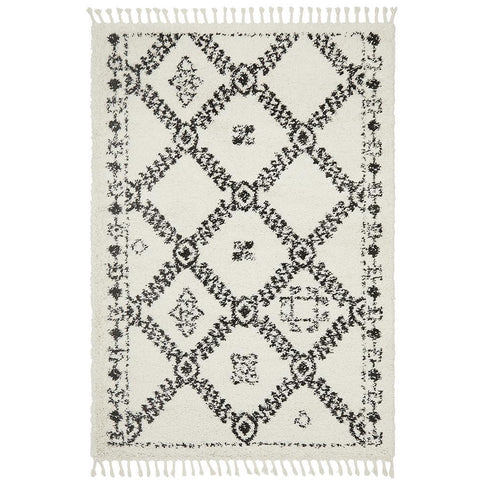 Zaria 153 White Black Moroccan Inspired Modern Shaggy Rug - Rugs Of Beauty - 1