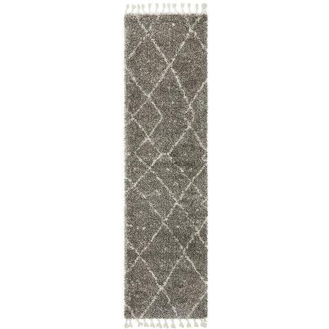 Zaria 154 Grey Moroccan Inspired Modern Shaggy Runner Rug - Rugs Of Beauty - 1
