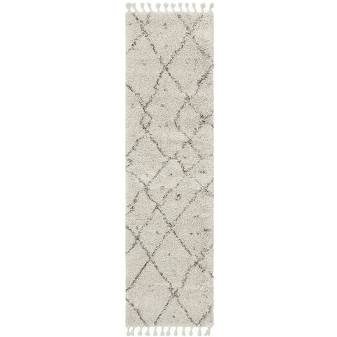 Zaria 154 Natural Moroccan Inspired Modern Shaggy Runner Rug - Rugs Of Beauty - 1