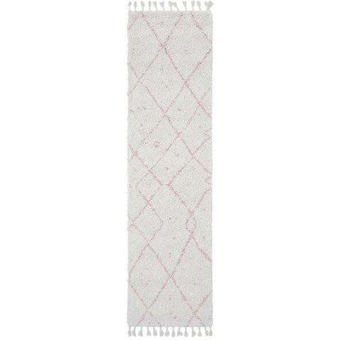 Zaria 154 Pink Moroccan Inspired Modern Shaggy Runner Rug - Rugs Of Beauty - 1