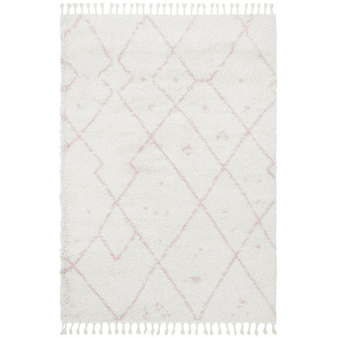 Zaria 154 Pink Moroccan Inspired Modern Shaggy Rug - Rugs Of Beauty - 1
