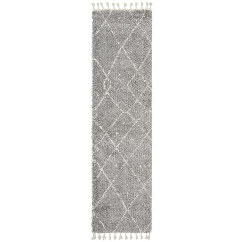 Zaria 154 Silver Grey Moroccan Inspired Modern Shaggy Runner Rug - Rugs Of Beauty - 1