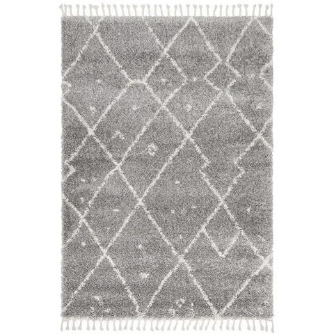Zaria 154 Silver Grey Moroccan Inspired Modern Shaggy Rug - Rugs Of Beauty - 1
