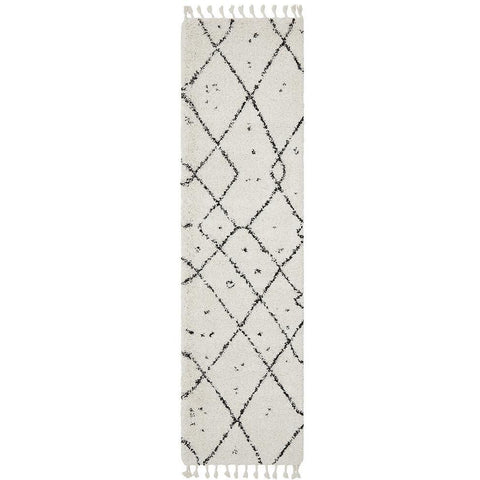 Zaria 154 White Black Moroccan Inspired Modern Shaggy Runner Rug - Rugs Of Beauty - 1