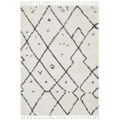 Zaria 154 White Black Moroccan Inspired Modern Shaggy Rug - Rugs Of Beauty - 1