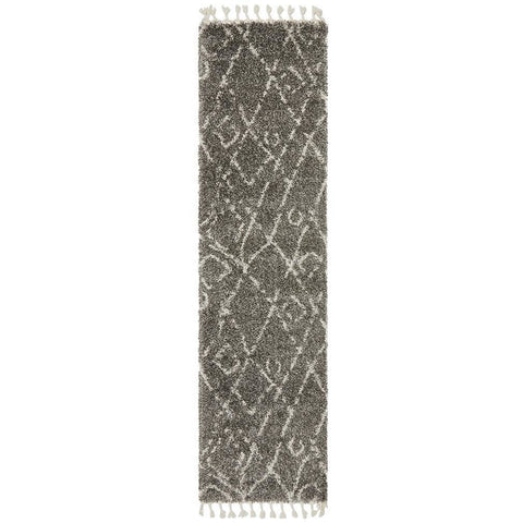 Zaria 155 Grey Moroccan Inspired Modern Shaggy Runner Rug - Rugs Of Beauty - 1