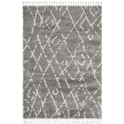 Zaria 155 Grey Moroccan Inspired Modern Shaggy Rug - Rugs Of Beauty - 1