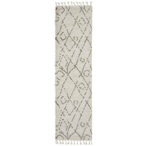 Zaria 155 Natural Moroccan Inspired Modern Shaggy Runner Rug - Rugs Of Beauty - 1