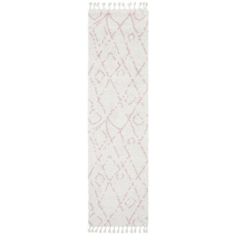 Zaria 155 Pink Moroccan Inspired Modern Shaggy Runner Rug - Rugs Of Beauty - 1