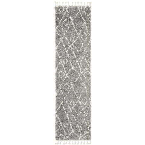 Zaria 155 Silver Grey Moroccan Inspired Modern Shaggy Runner Rug - Rugs Of Beauty - 1