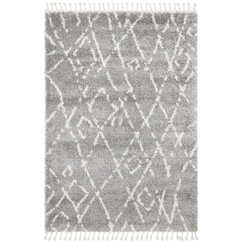 Sale Zaria 155 Silver Grey Moroccan Inspired Modern Shaggy Rug - Rugs Of Beauty - 1