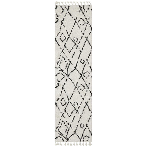Zaria 155 White Black Moroccan Inspired Modern Shaggy Runner Rug - Rugs Of Beauty - 1