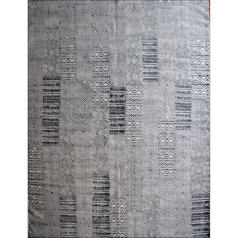 Designer Patterned Hand Printed Cotton Durries - Samoa - Charcoal - Rugs Of Beauty