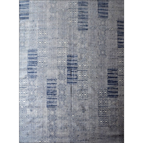 Designer Patterned Hand Printed Cotton Durries - Samoa - Navy - Rugs Of Beauty