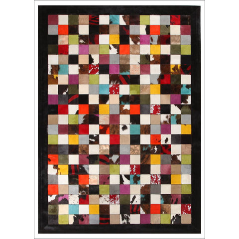 Premium Designer Leather Checkered Rug Multi - Rugs Of Beauty - 1