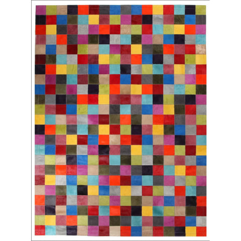 Premium Designer Leather Checkered Pantone Rug Multi - Rugs Of Beauty