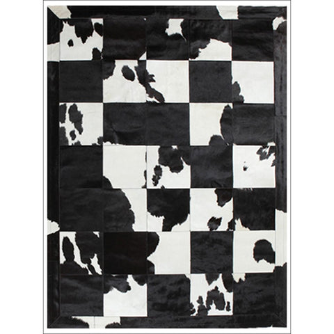 Premium Designer Leather Patch Rug Black White - Rugs Of Beauty