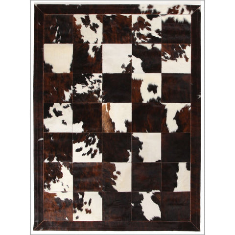Premium Designer Leather Patch Rug Brown White - Rugs Of Beauty - 1