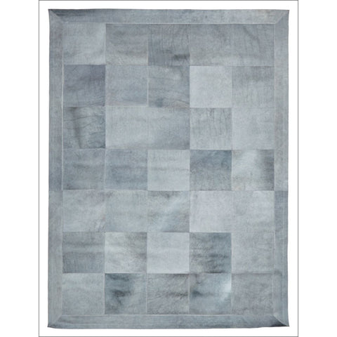 Premium Designer Leather Patch Rug Grey - Rugs Of Beauty - 1