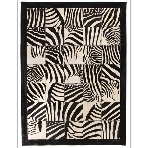 Premium Designer Leather Patch Rug Zebra - Rugs Of Beauty - 1