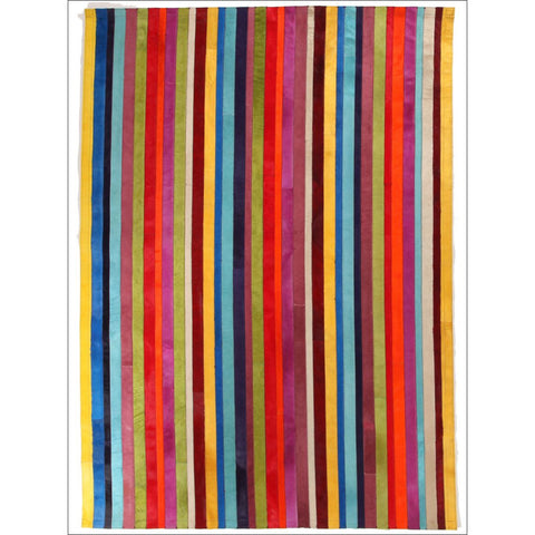 Premium Designer Leather Striped Rainbow Rug - Rugs Of Beauty - 1